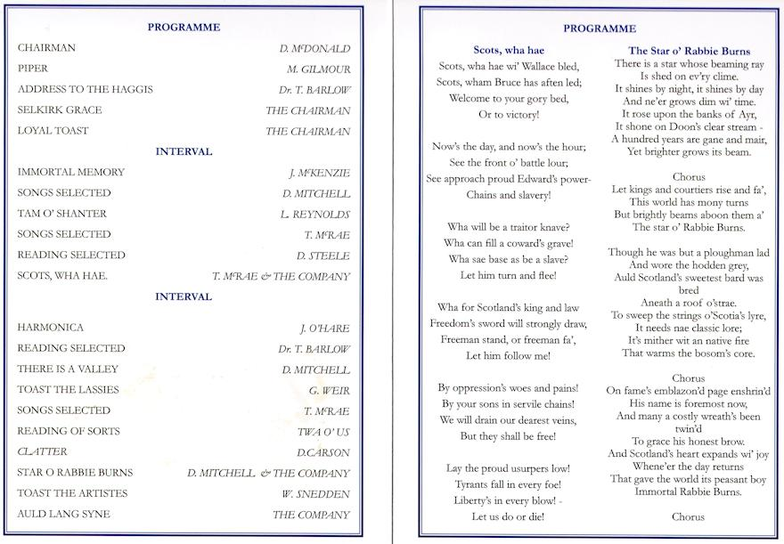 Burns Supper Programme
