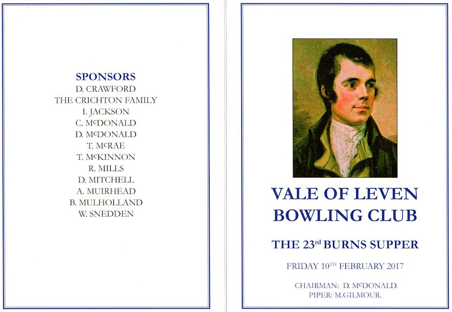 Burns supper programme front