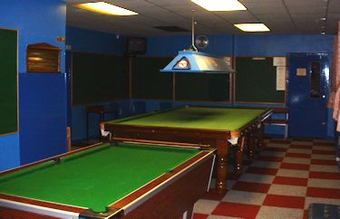 Snooker room at Vale bowling club
